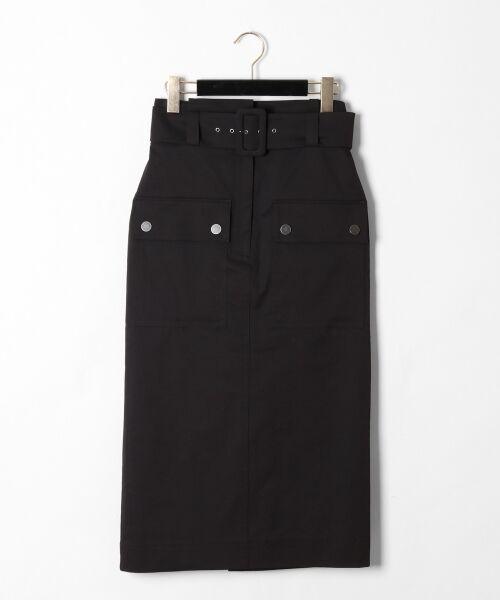 GRACE CONTINENTAL / グレースコンチネンタル ミニ・ひざ丈スカート | フロントポケットタイトスカート(ブラック)