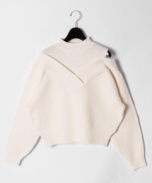GRACE CONTINENTAL / グレースコンチネンタル ニット・セーター | アシメショルダーニットトップ(ホワイト)