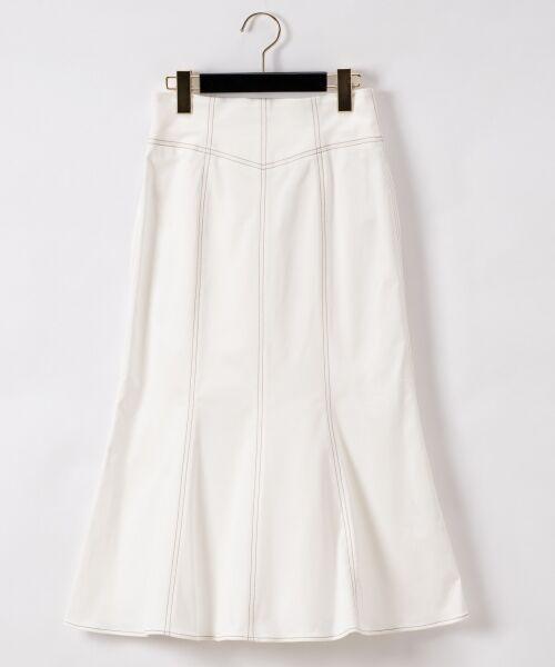 GRACE CONTINENTAL / グレースコンチネンタル ミニ・ひざ丈スカート   切替マーメイドスカート(ホワイト)