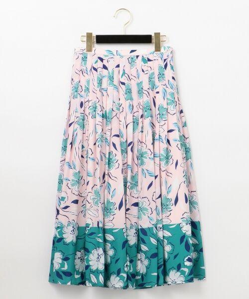 GRACE CONTINENTAL / グレースコンチネンタル ミニ・ひざ丈スカート | フラワープリントプリーツスカート(ピンク)