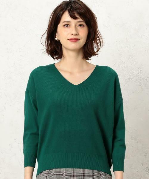green label relaxing / グリーンレーベル リラクシング ニット・セーター | [手洗い可能] KC カタアゼx天竺 Vネック ニット | 詳細6