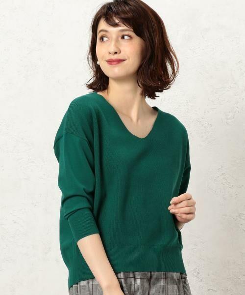 green label relaxing / グリーンレーベル リラクシング ニット・セーター | [手洗い可能] KC カタアゼx天竺 Vネック ニット(KELLY)