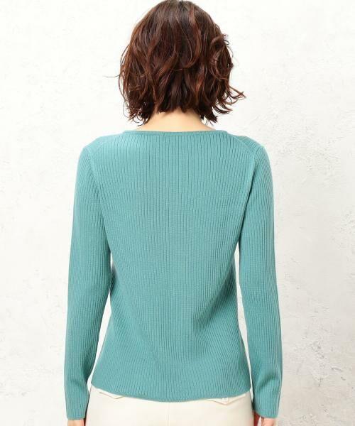green label relaxing / グリーンレーベル リラクシング ニット・セーター | [手洗い可能] CR W リブ クルーネック 12G ニット | 詳細15