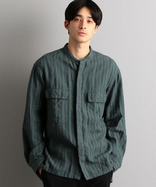green label relaxing / グリーンレーベル リラクシング シャツ・ブラウス   SC フレンチリネン ミリタリーバンドシャツ(その他1)