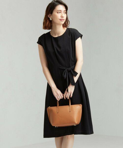 green label relaxing / グリーンレーベル リラクシング ドレス | D GB リボン ギャザー ワンピース(BLACK)
