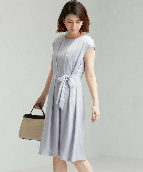 green label relaxing / グリーンレーベル リラクシング ドレス | D GB リボン ギャザー ワンピース(LILAC)