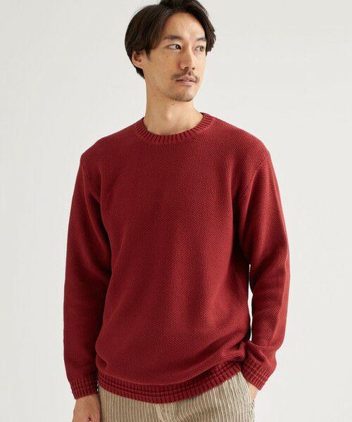 green label relaxing / グリーンレーベル リラクシング ニット・セーター | SC ウォッシュドカノコ クルーネック(RED)
