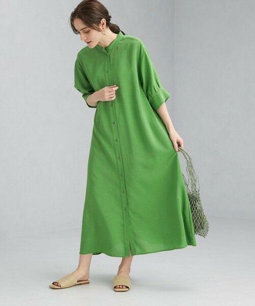 green label relaxing / グリーンレーベル リラクシング ロング・マキシ丈ワンピース   FFC ボリューム スリーブ シャツ ワンピース(KELLY)
