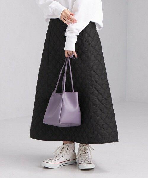 green label relaxing / グリーンレーベル リラクシング ロング・マキシ丈スカート | キルティング スカート(BLACK)