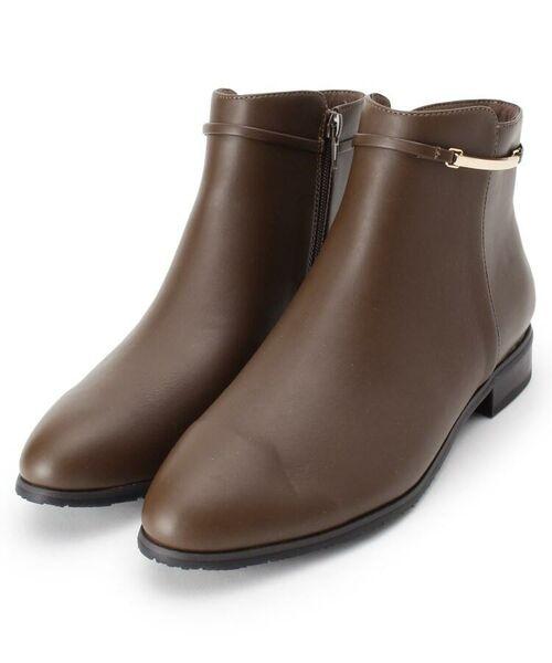 grove / グローブ ブーツ(ショート丈)   メタルベルト風ショートブーツ(ブラウン(042))
