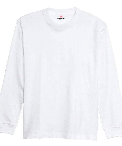 Hanes / ヘインズ Tシャツ   BEEFY長袖Tシャツ(010ホワイト)
