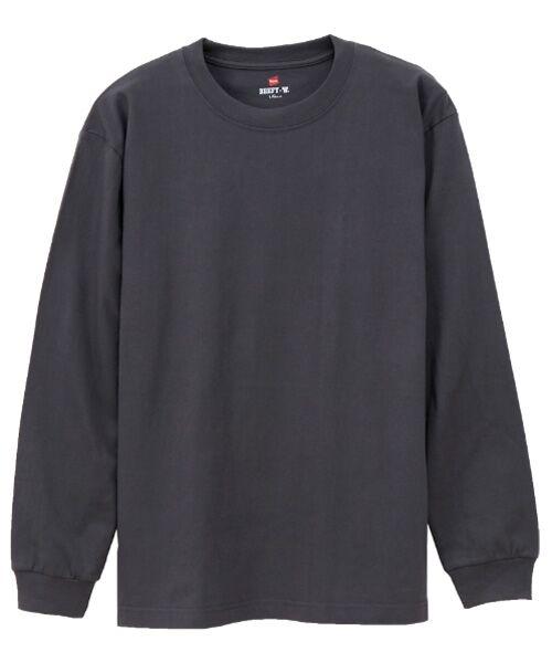 Hanes / ヘインズ Tシャツ   BEEFY長袖Tシャツ(081ダークグレー)