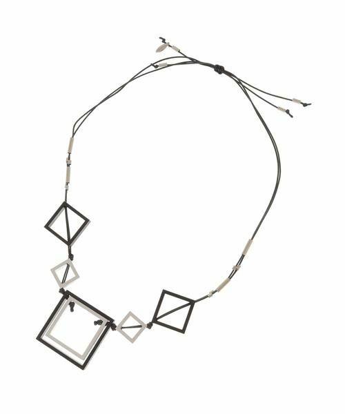 HIROKO BIS / ヒロコビス ネックレス・ペンダント・チョーカー | スクエアーパーツデザインネックレス(ブラック)