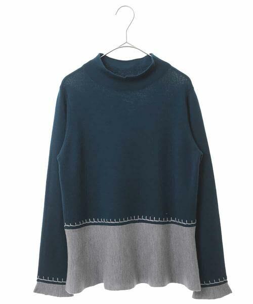 HIROKO BIS / ヒロコビス ニット・セーター   バイカラーフレアニット(ブルー)