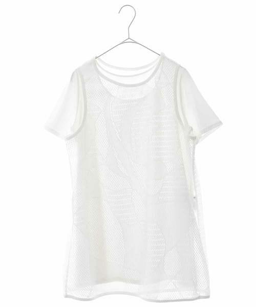 HIROKO BIS / ヒロコビス カットソー | 【洗える】デザインメッシュタンクトップ&Tシャツセット(ホワイト)