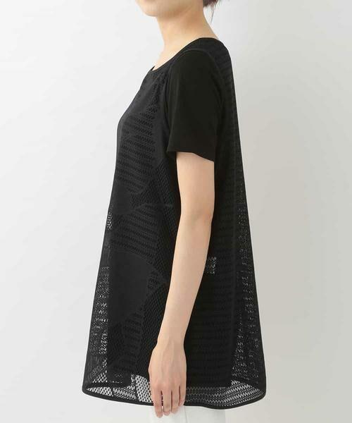 HIROKO BIS / ヒロコビス カットソー | 【洗える】デザインメッシュタンクトップ&Tシャツセット | 詳細2