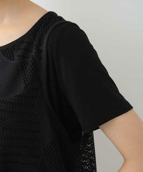 HIROKO BIS / ヒロコビス カットソー | 【洗える】デザインメッシュタンクトップ&Tシャツセット | 詳細5