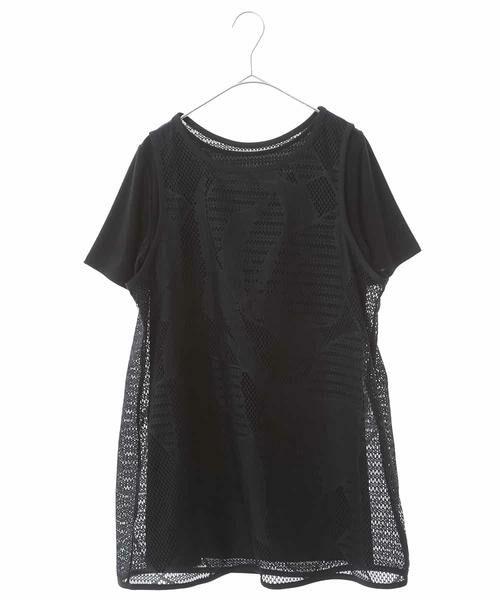 HIROKO BIS / ヒロコビス カットソー | 【洗える】デザインメッシュタンクトップ&Tシャツセット(ブラック)