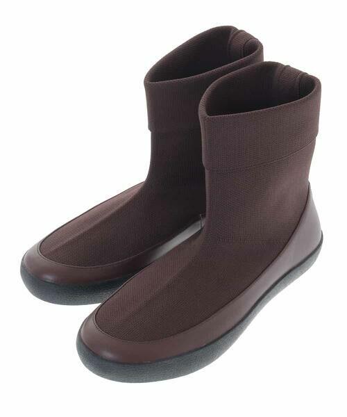 HIROKO BIS / ヒロコビス ブーツ(ロング丈) | デザインニットブーツ(ブラウン)