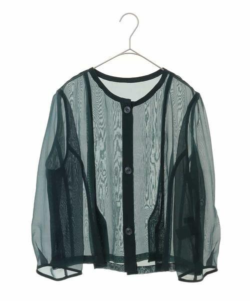 HIROKO BIS GRANDE / ヒロコビス グランデ ノーカラージャケット   オーガンジーショートジャケット(グリーン)