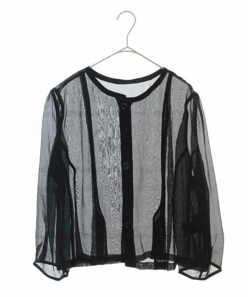 HIROKO BIS GRANDE / ヒロコビス グランデ ノーカラージャケット   オーガンジーショートジャケット(ブラック)