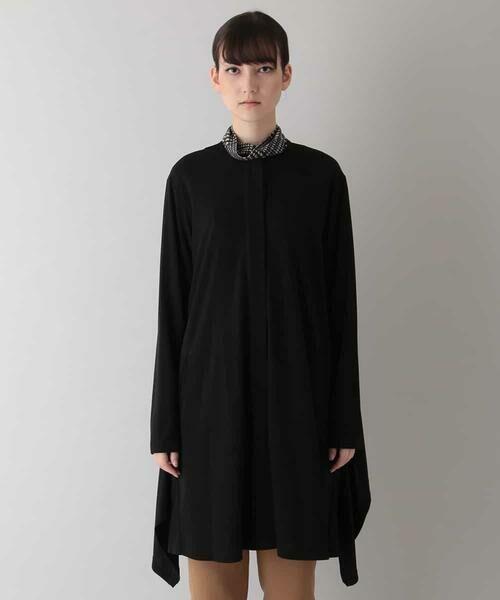 HIROKO KOSHINO / ヒロココシノ セットアップ | 【洗える/日本製】ノーカラードレープジャケット(ブラック)