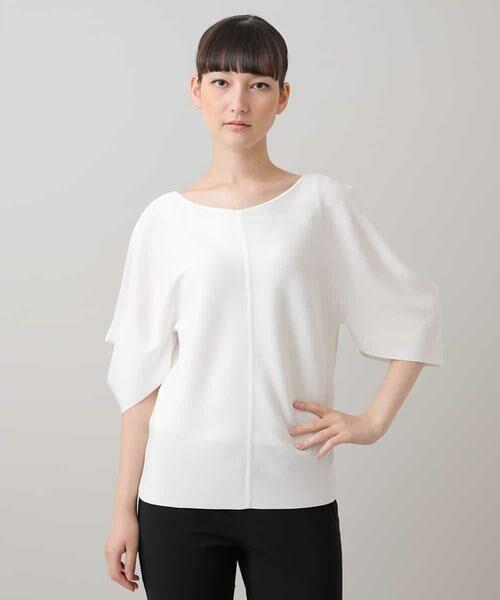 HIROKO KOSHINO / ヒロココシノ ニット・セーター   ハイツイストレーヨンニット(ホワイト)