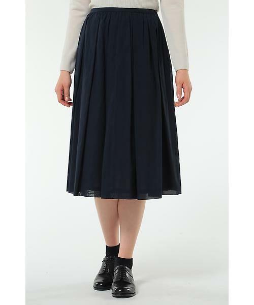 HUMAN WOMAN / ヒューマンウーマン スカート | 100/2コットンオーガンジースカート(ネイビー)