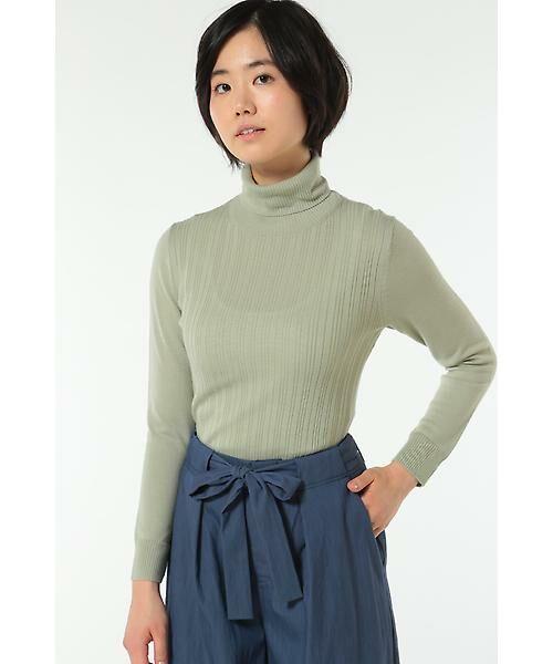 HUMAN WOMAN / ヒューマンウーマン ニット・セーター | WOOL BASIC 3ニット(グリーン)
