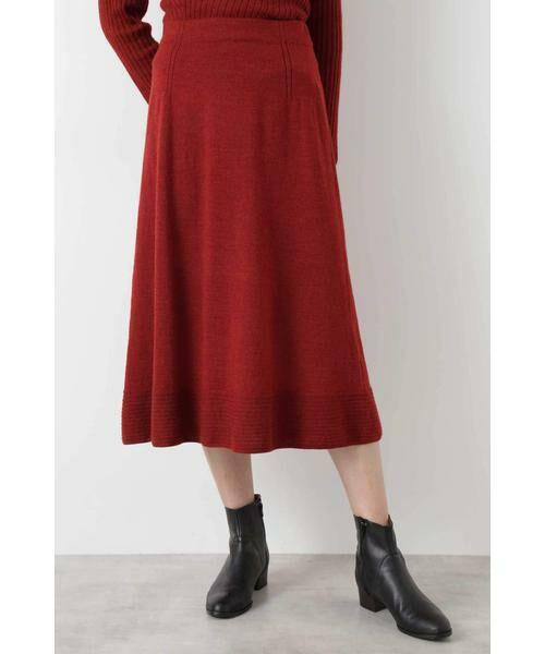HUMAN WOMAN / ヒューマンウーマン スカート | ◆セミフレアースカート(ブラウンレッド)