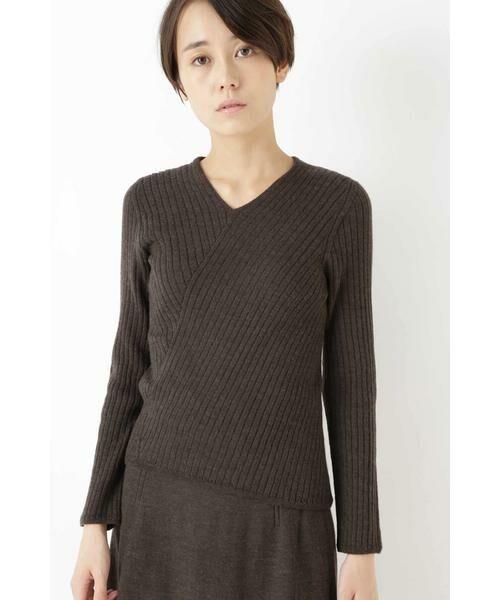 HUMAN WOMAN / ヒューマンウーマン ニット・セーター | ◆変形リブプルオーバー(カーキ)