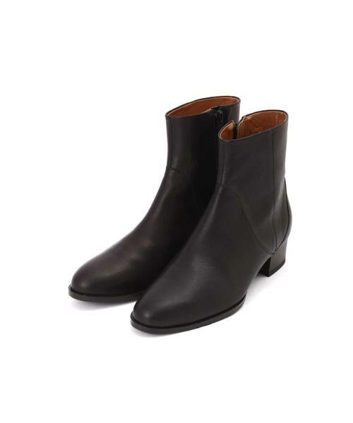 HUMAN WOMAN / ヒューマンウーマン シューズ | ◆牛革レザーショートブーツ(ブラック)