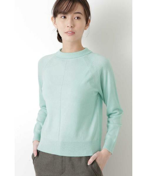 HUMAN WOMAN / ヒューマンウーマン ニット・セーター | 柄編み使いラグランプルオーバー(アクアグリーン)