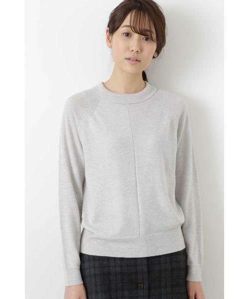 HUMAN WOMAN / ヒューマンウーマン ニット・セーター | 柄編み使いラグランプルオーバー(TOPグレー)