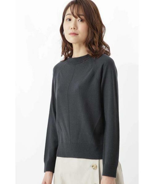 HUMAN WOMAN / ヒューマンウーマン ニット・セーター | 柄編み使いラグランプルオーバー(スミクロ)
