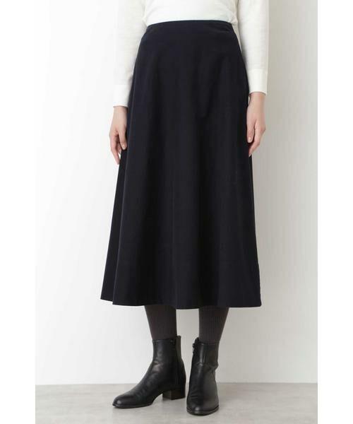 HUMAN WOMAN / ヒューマンウーマン スカート | ◆ライトモールスキンスカート(ネイビー)