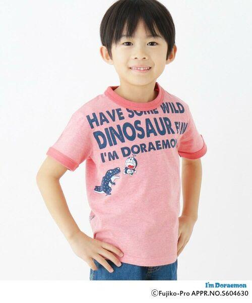 HusHusH/ハッシュアッシュ 【ドラえもん】ドラ恐竜Tシャツ レッド(062) 90(90cm)