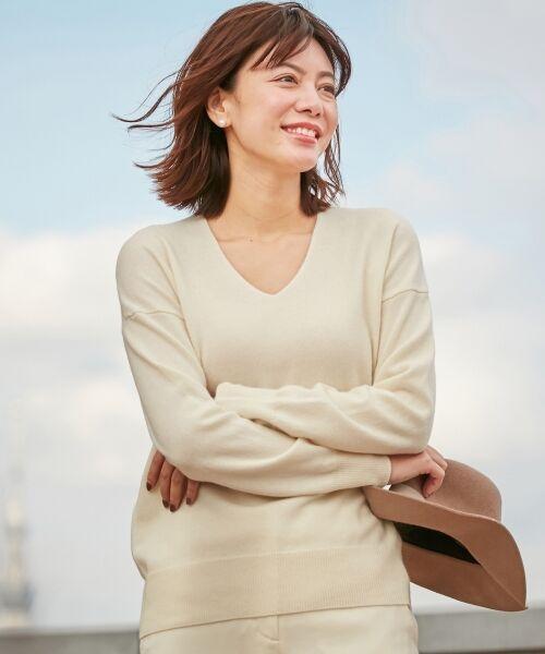 ICB / アイシービー ニット・セーター | 【カシミヤ混】Linda Vネックニット(ホワイト系)