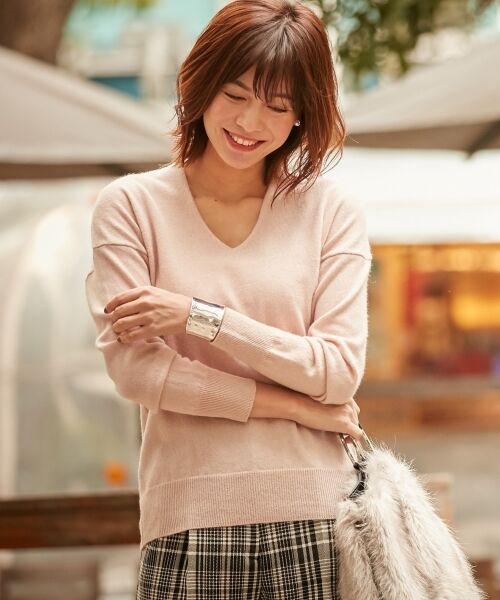 ICB / アイシービー ニット・セーター | 【カシミヤ混】Linda Vネックニット(ピンク系)