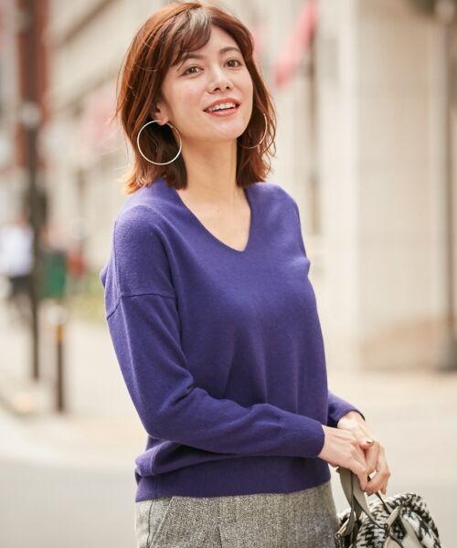 ICB / アイシービー ニット・セーター | 【カシミヤ混】Linda Vネックニット(パープル系)