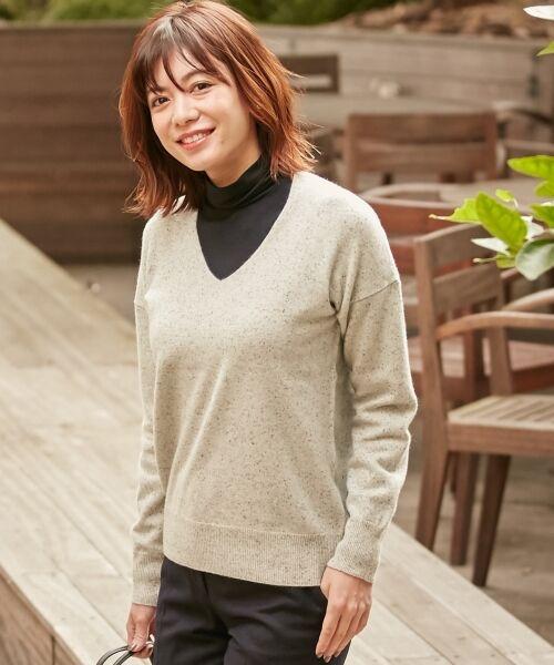 ICB / アイシービー ニット・セーター | 【カシミヤ混】Linda Vネックニット(ブラック系7)