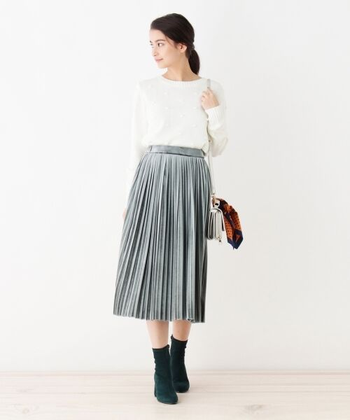 index / インデックス スカート   ベロアプリーツスカート   詳細7