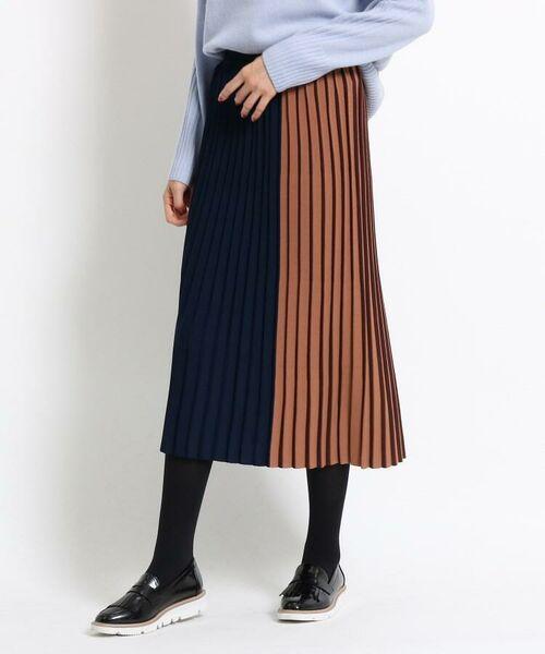 INDIVI / インディヴィ ミニ・ひざ丈スカート | 【ハンドウォッシュ】エマプリーツミモレスカート(ネイビー(593))
