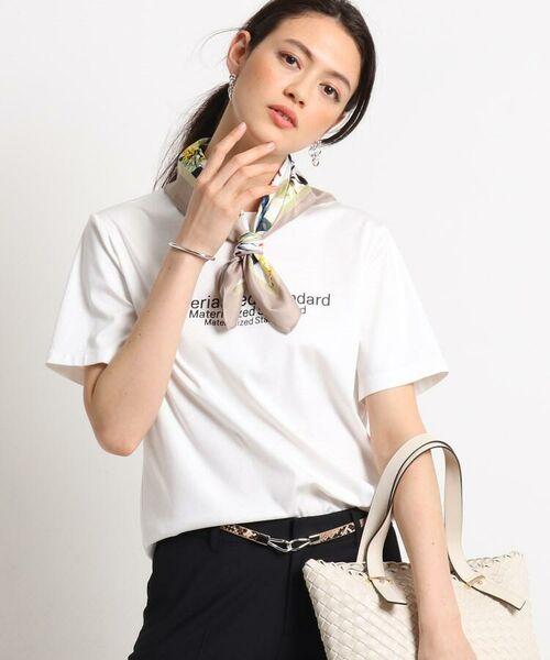 INDIVI / インディヴィ その他トップス   [L]【ハンドウォッシュ】ロゴスムースTシャツ(ホワイト(002))