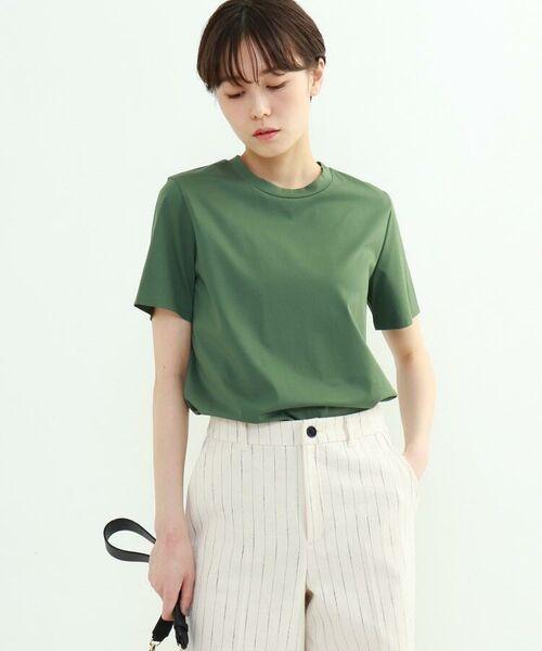 INDIVI / インディヴィ その他トップス | クルーネックスムースTシャツ(オリーブグリーン(626))