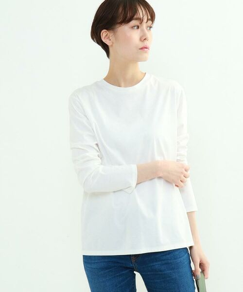 INDIVI / インディヴィ カットソー   スムースロングスリーブTシャツ(ホワイト(001))