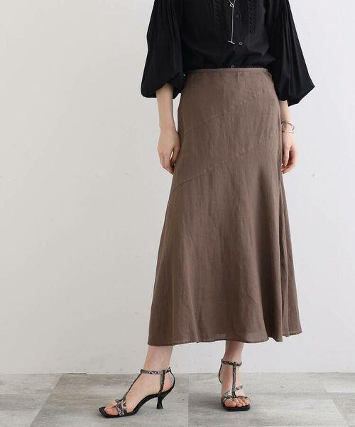 INDIVI / インディヴィ ロング・マキシ丈スカート   ラミーボイルアシメ切替マーメイドスカート   詳細14