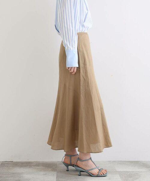 INDIVI / インディヴィ ロング・マキシ丈スカート   ラミーボイルアシメ切替マーメイドスカート   詳細17