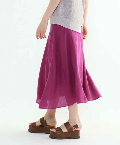 INDIVI / インディヴィ ロング・マキシ丈スカート   ラミーボイルアシメ切替マーメイドスカート   詳細20