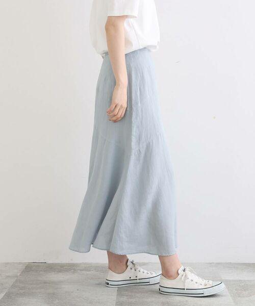 INDIVI / インディヴィ ロング・マキシ丈スカート   ラミーボイルアシメ切替マーメイドスカート   詳細23